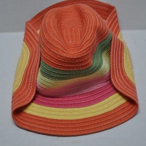 Girl's Wicker Straw Hat Striped Gymboree 3-4 NWT